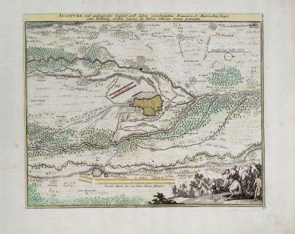 Antique Maps, Weigel, Germany, Bavaria, Augsburg, 1718: Augsburg mit umliegender Gegend und dabey verschanzten Französisch-Bayrischen Lager.