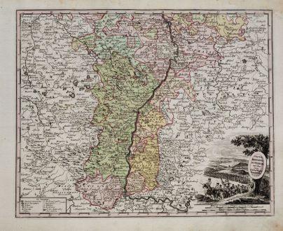 Antike Landkarten, Weigel, Deutschland, Baden-Württemberg, Oberrhein, 1718: Tractus Rhenanus Superior