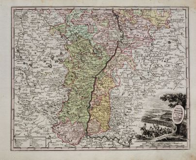 Antique Maps, Weigel, Germany, Baden-Württemberg, Upper Rhine, 1718: Tractus Rhenanus Superior