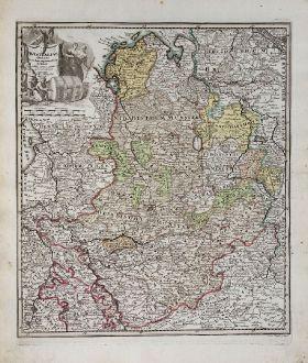 Antike Landkarten, Weigel, Deutschland, Niedersachsen, Nordrhein-Westfalen, 1718: Westfaliae ordines secundum regiones suas distineti addita cursus publici permutatione