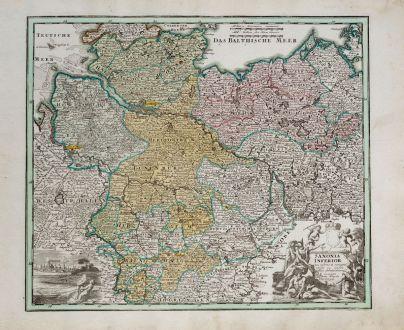 Antique Maps, Weigel, Germany, Lower Saxony, 1718: Saxonia Inferior