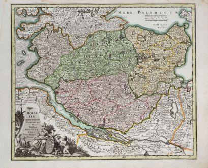 Antike Landkarten, Weigel, Deutschland, Schleswig-Holstein, Hamburg, Kiel, Lübeck: Holsatiae, Dithmarsiae, Stormariae et Vagriae Ducatus