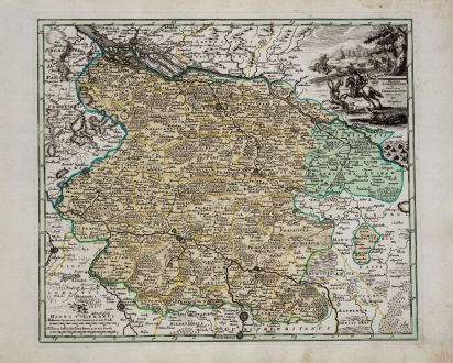 Antike Landkarten, Weigel, Deutschland, Niedersachsen, 1718: Ducatus Luneburgensis et Comitatus Dannebergensis nova tabula