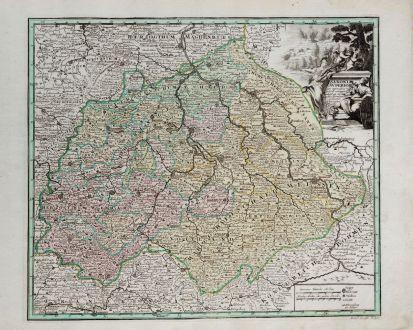 Antike Landkarten, Weigel, Deutschland, Sachsen, 1718: Saxonia Superior