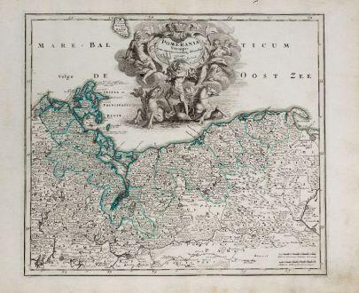 Antike Landkarten, Weigel, Polen, Mecklenburg-Vorpommern, Pommern, 1718: Pomerania Vtraque eum insertis vicinisq ditionibus curante.