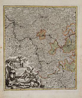 Antike Landkarten, Weigel, Deutschland, Hessen, Rheinland-Pfalz, 1718: Circulus Franconicus ad Occidentem vergens cum regionibus