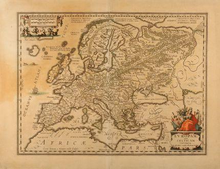 Antike Landkarten, Janssonius, Europa Kontinent, 1642: Europam sive Celticam veterem. Sic Describere conabur Abrahamus Ortelius