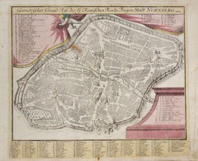 Antike Landkarten, Weigel, Deutschland, Bayern, Nürnberg, 1718: Geometrischer Grund-Riss, des H. Römischen Reichs Freyen Stadt Nurnberg