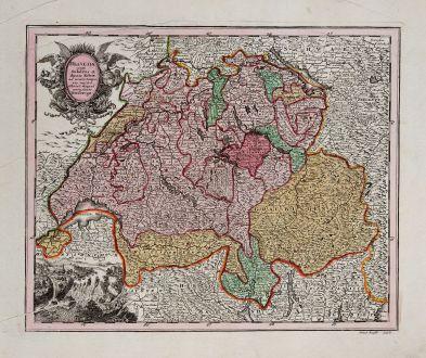 Antike Landkarten, Weigel, Schweiz, 1718: Helvetia cum Subditis & Sociis Helvet...
