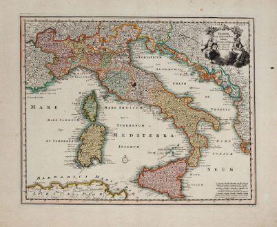 Antike Landkarten, Weigel, Italien, 1718: Italiae Cum adjacentibus Insulis accurata consignatio Curante