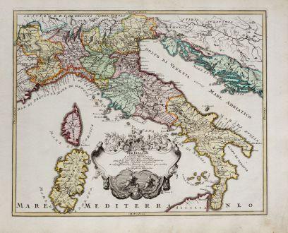 Antike Landkarten, Weigel, Italien, 1718: Per Italiam cursus publici & Viarum Militarium accuratissima vestigia.