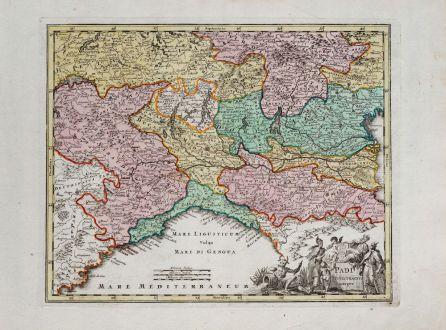 Antike Landkarten, Weigel, Italien, Piermont, Lombardei, Ligurien, 1718: Padi Fluivii Tractus integer