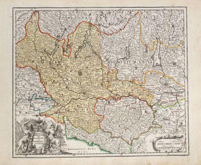 Antike Landkarten, Weigel, Italien, Lombardei, Lombardia, Mailand, 1718: Ducatus Mediolanensis Placentini et Parmensis nova Tabula