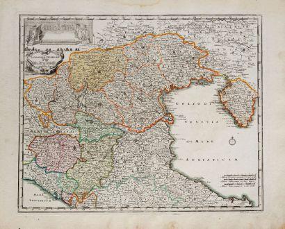 Antike Landkarten, Weigel, Italien, Regione del Veneto, Venetien, 1718: Lombardia Inferioris Tabula in qua Ditio Veneta, Parmensis, Mutinensis, et Mantuana