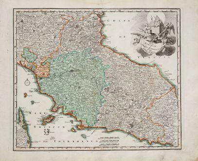 Antike Landkarten, Weigel, Italien, Toskana, Latium, Umbrien, Marken, 1718: Tabula Etruriae et Status Ecclesiast