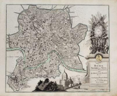 Antike Landkarten, Weigel, Italien, Roma, Rom, 1718: Romae Veteris ac Novae Collatio Topographica per Io. Baptistam Faldam...