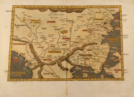 Antike Landkarten, Fries, Griechenland, Balkan, Türkei, Bulgarien, Rumänien: Europae tabula nona. Continet Iaziges Metanastas, Daciam, Mysiam superiorem