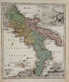 Antike Landkarten, Weigel, Italien, Kalabrien, Apulien, Basilikata, Kampanien: Typus Regni Neapolitani in suas prvoincias diligenter divisi