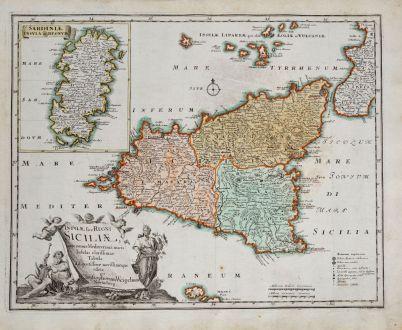 Antike Landkarten, Weigel, Italien, Sardinien, Sizilien, 1718: Insulae sive Regni Siciliae ante omnes Mediterranei maris Insulas...