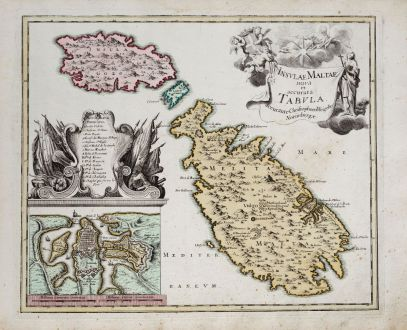 Antique Maps, Weigel, Malta, Valetta, Gozo, Malta, 1718: Insulae Maltae nova et accurata Tabula