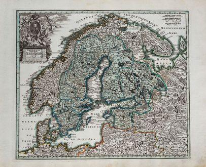 Antike Landkarten, Weigel, Skandinavien, 1718: Scandinavia Complectens, Sueciae, Daniae & Norvegiae Regna ex Tabulis