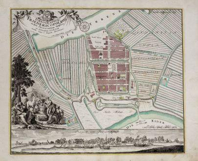 Antike Landkarten, Weigel, Deutschland, Schleswig-Holstein, Friedrichstadt, 1718: Ichnographia Friedericopoleos inclyti Slesvicensium Emporii