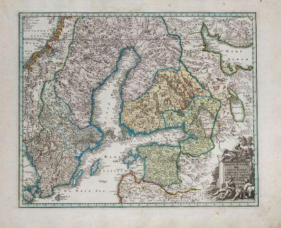 Antike Landkarten, Weigel, Schweden, 1718: Regnum Sueciae cum ducatu Finniae, Lapponia, Livonia, Nordlandia, Ingria