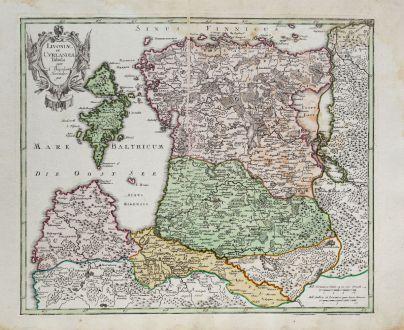 Antike Landkarten, Weigel, Baltikum, Lettland, Litauen, Estland, 1718: Livoniae et Curlandiae Tabula