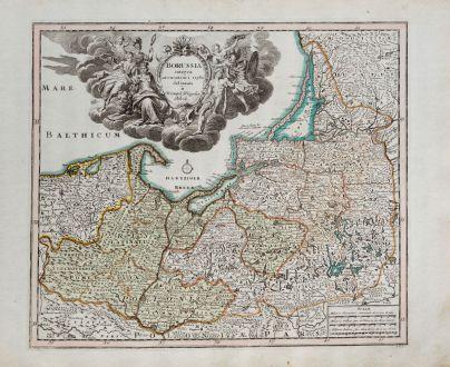 Antike Landkarten, Weigel, Polen, Ostpreußen, Königsberg, Danzig, 1718: Borussia integra accuratiori stylo delineata