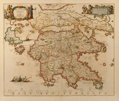 Antique Maps, Janssonius, Greece, Peloponnese, 1660: Peloponesus sive Morea. Auth. I. Laurenbergio.