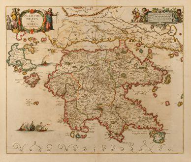 Antike Landkarten, Janssonius, Griechenland, Peloponnes, 1660: Peloponesus sive Morea. Auth. I. Laurenbergio.