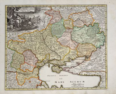 Antique Maps, Weigel, Ukraine, 1718: Ukrania seu Cosacorum Regio Walachia item Moldavia et Tartary minor