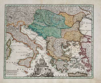 Antike Landkarten, Weigel, Italien, Donau, 1718: Danubium & Ister