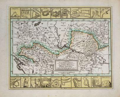 Antique Maps, Weigel, Balkan, 1718: Mappa der zu Carlovitz geschlossenen... Kaiserlich Türkischen Gräntz Scheidung, so in dem Früh Jahr 1699 angefangen...