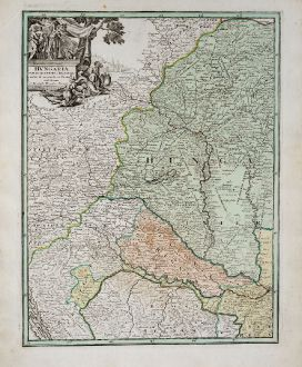 Antike Landkarten, Weigel, Österreich - Ungarn, 1718: Hungaria cum Adiacentibus Provinciis Nova et Accuratiori Forma Exhibetur