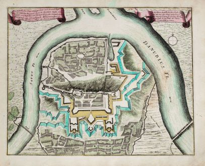 Antike Landkarten, Weigel, Balkan, Serbien, Belgrad, 1718: Umständliche Orts-Gelegenheit und Grund Riss... Belgrad oder Griechisch Weissenburg