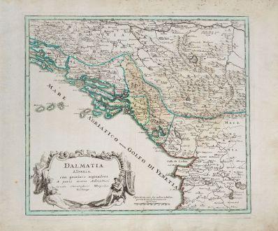 Antike Landkarten, Weigel, Balkan, Albanien, Montenegro, Kroatien, 1718: Dalmatia Albania cum procimis regionibus & parte maris Adriatici