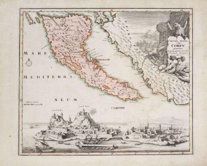 Antike Landkarten, Weigel, Griechenland, Korfu, 1718: Corcyrae insulae, vulgo Corfu planities unacum parte Greciae