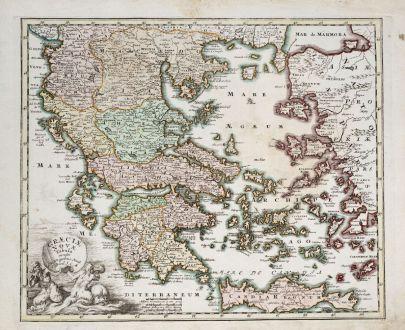 Antike Landkarten, Weigel, Griechenland, 1718: Graeciae Novae Tabula