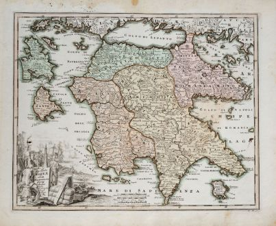Antique Maps, Weigel, Greece, Peloponnese, 1718: Accurata Moreae Olim Peloponesus dictae Tabula