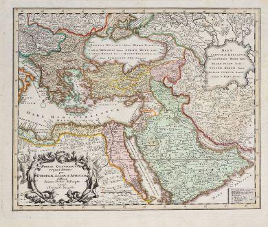 Antike Landkarten, Weigel, Türkei, Osmanisches Reich, 1718: Portae Ottomanicae regna & aditiones per Europam, Asiam & Africam