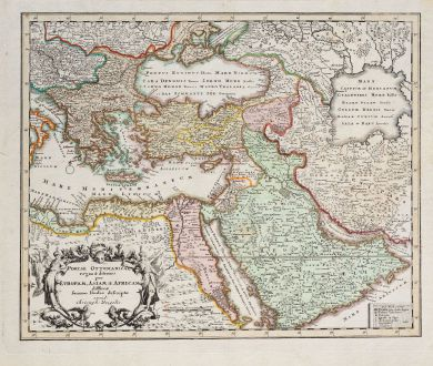 Antique Maps, Weigel, Turkey, Ottoman Empire, 1718: Portae Ottomanicae regna & aditiones per Europam, Asiam & Africam