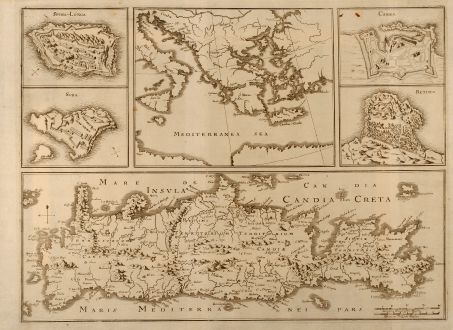 Antique Maps, Merian, Greece, Crete, Candia, Heraklion, 1672: Insula Candia olim Creta