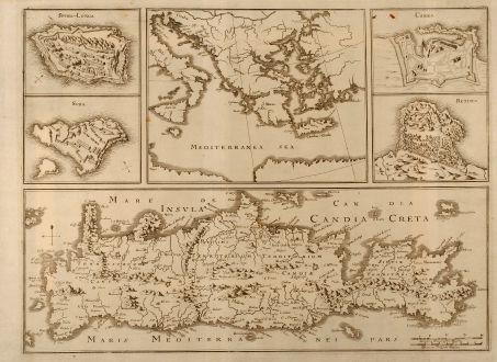 Antike Landkarten, Merian, Griechenland, Kreta, Candia, Heraklion, 1672: Insula Candia olim Creta