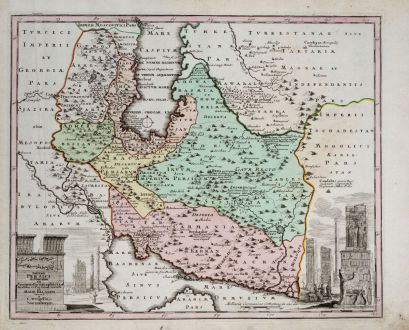 Antike Landkarten, Weigel, Mittlerer Osten, Persischer Golf, Persien, Iran, 1718: Imperii Persici delineatio...