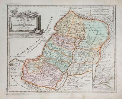 Antike Landkarten, Weigel, Heiliges Land, 1718: Terra Sancta in XII olim Tribus nunc VI Provincias Dispertita ...