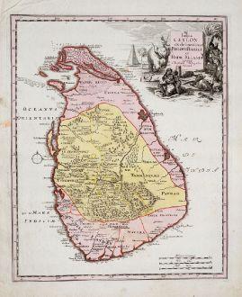 Antike Landkarten, Weigel, Indien, Sri Lanka, Ceylon, 1718: Insula Ceylon ex delineatione Philippi Baldaei et Hadr. Relandi
