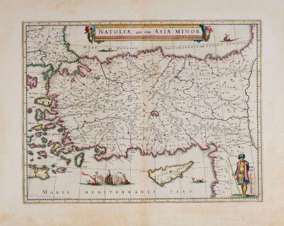 Antike Landkarten, Blaeu, Türkei, 1640-43: Natolia, quae olim Asia Minor.