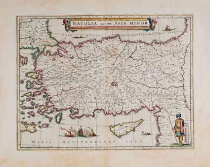 Antique Maps, Blaeu, Turkey, 1640-43: Natolia, quae olim Asia Minor.