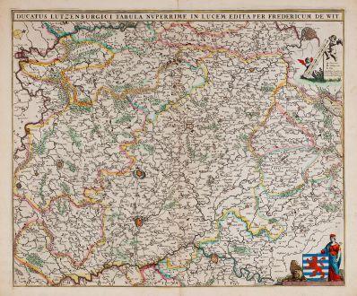 Antike Landkarten, de Wit, Luxemburg, 1680: Ducatus Lutzenburgici Tabula Nuperrime in Lucem Edita